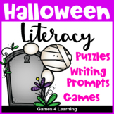 Halloween Literacy Center Puzzles and Games: Halloween Worksheets