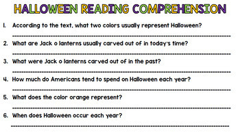 Halloween Literacy - Special Education - Life Skills - Print & Go - Reading