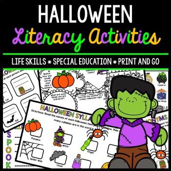 Halloween Literacy - Special Education - Life Skills - Print & Go - Reading
