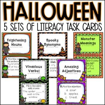 Halloween Literacy Task Cards (Second Grade)