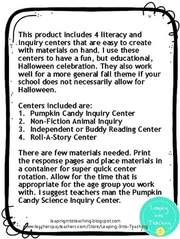 Halloween Literacy and Inquiry Centers