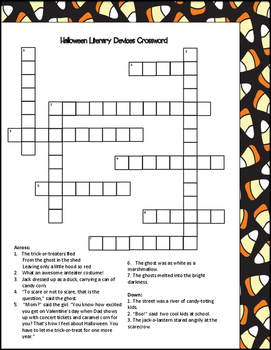 Halloween Literary Devices Crossword Puzzle By Spark Creativity Tpt