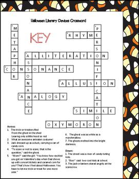 Halloween Literary Devices Crossword Puzzle
