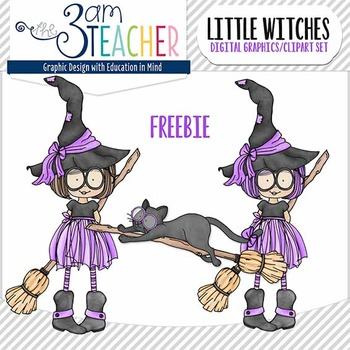 Halloween Little Witches Mini FREEBIE Clipart Set