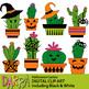 Halloween Llama Alpaca and Cactus Clipart Bundle
