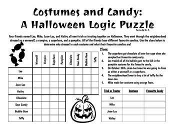 Halloween Logic Grid Puzzle!