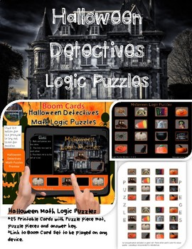 Halloween Logic Puzzles Printable Puzzle Cards & Digital Interactive Boom Cards
