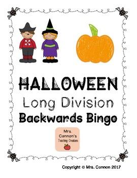 Halloween Long Division Backwards Bingo