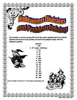 Halloween Long Division Pumpkin Match (Word Problems)
