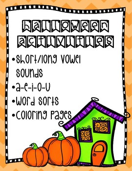 Halloween Long and Short Vowel Word Sorts with Coloring Pages