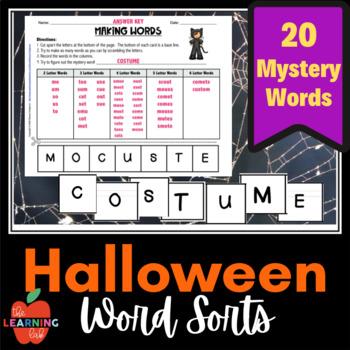 Halloween MAKING WORDS, Seasonal Word Sorts, October fun!