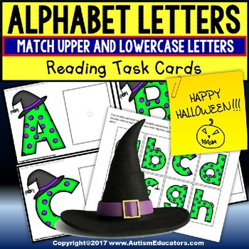 Halloween MATCHING UPPER AND LOWER CASE LETTERS Task Box Filler AUTISM