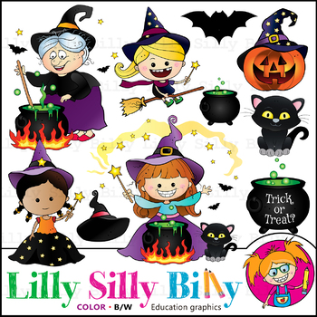 Halloween MEGA BUNDLE Clipart. BLACK AND WHITE & Color. {Lilly Silly Billy}