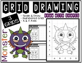 Halloween MONSTER (Draw with Shapes) Grid Drawing - NO PREP