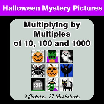 Halloween: MULTIPLICATION by 10,100,1000 - Color-By-Number Mystery Pictures