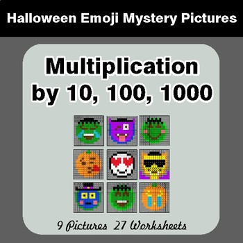 Halloween: MULTIPLICATION by 10,100,1000 - Color-By-Number Math Mystery Pictures