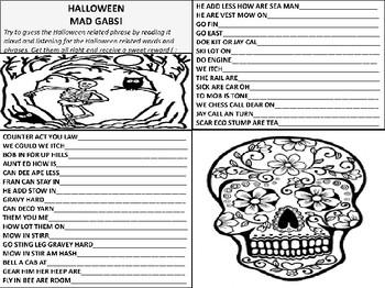 Halloween Mad Gab Game Sheet