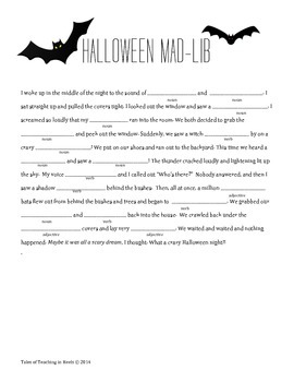 photograph regarding Halloween Mad Libs Printable identify Halloween Nuts Libs Worksheets Education Supplies TpT