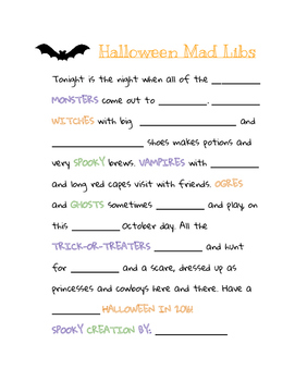 photo relating to Halloween Mad Libs Printable Free referred to as Halloween Nuts Libs For Language Arts Worksheets Training