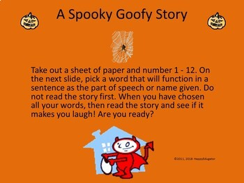 Halloween Vocabulary Activity - Parts of Speech Funny Fill In Stories PowerPoint