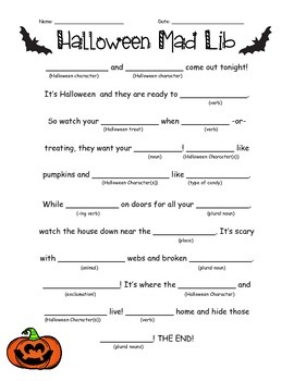 graphic relating to Halloween Mad Libs Printable identify Halloween Insane Libs