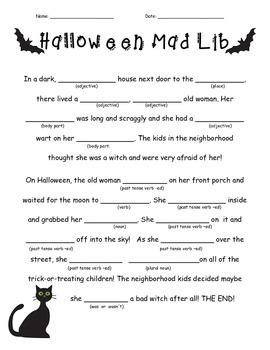 Rare image throughout halloween mad libs printable free