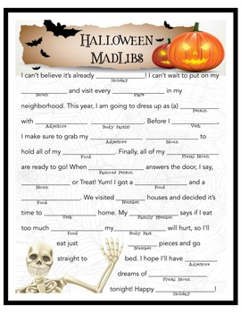 image about Halloween Mad Libs Printable Free named Halloween Nuts Libs Worksheets Schooling Elements TpT