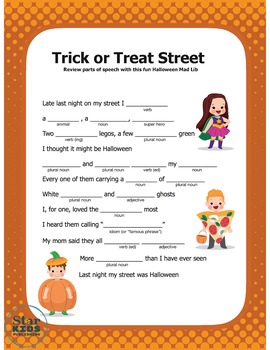 Halloween Mad Libs (TWO interactive digital pdfs, printables, and Google Slides)