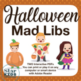 Halloween Mad Libs   ** Print or Play on any device - including Google Slides **