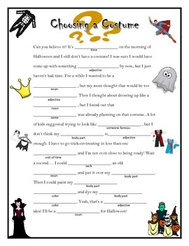 Halloween Madlib: Choosing a Costume