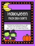Halloween Main Idea Sorts (Topic, Main Idea, and Supportin