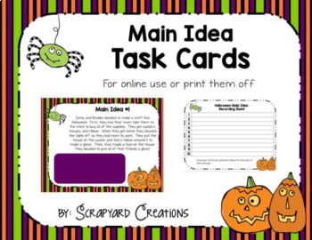 Halloween Main Idea Task Cards (Google and Paper Version)