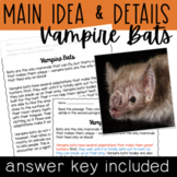Halloween Main Idea and Supporting Details: Vampire Bats