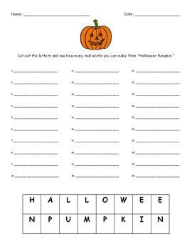 Halloween Making Words