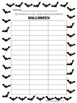 Halloween Making Words Activity