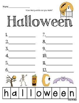 halloween making words worksheets