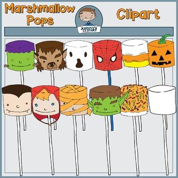 Halloween Marshmallow Pops Clipart