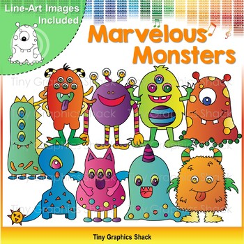 Halloween Marvelous Monsters Clip Art By Tiny Graphics Shack Tpt