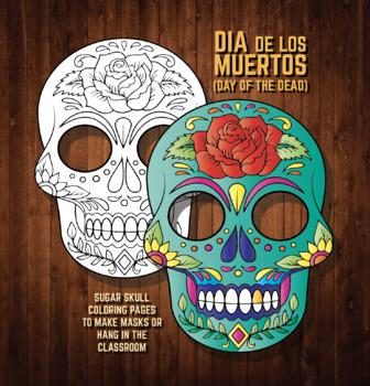 Halloween Masks Coloring Pages Sugar Skulls Dia De