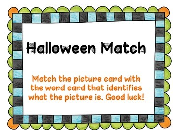 Halloween Match and Handwriting Practice too!