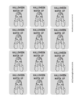 Halloween Match Up Cards with Sign Language B/W ready to Color, Game