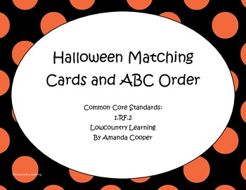 Halloween Matching Cards and ABC order!