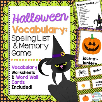 Halloween Vocabulary, Halloween Spelling List. Memory Game & Word Wall Posters
