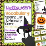 Halloween Vocabulary, Halloween Spelling List. Memory Game