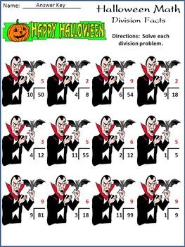 Halloween Math Activities: Halloween Math Drills Activity Packet
