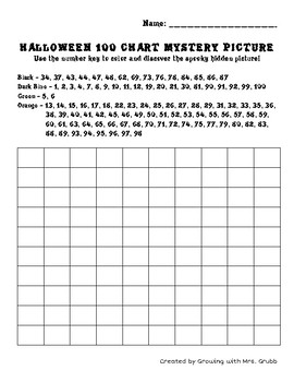 Halloween Math 100 Chart Addition Subtraction Mystery Picture Pumpkin