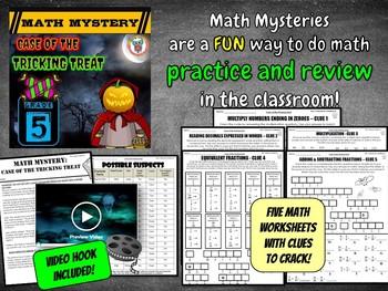 5th Grade Halloween Activity, Halloween Math Mystery Review