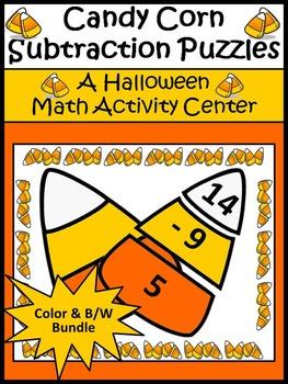 Halloween Math Activities: Candy Corn Subtraction Puzzles