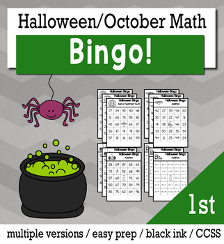Halloween Math 1st Grade BINGO Game Bundle