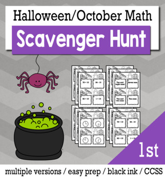Halloween Math 1st Grade Scavenger Hunt Game Bundle